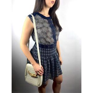BCBG MAX AZRIA silk navy mini pleated dress